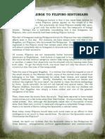 THE CHALLENGE TO FILIPINO HISTORIANS