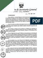 """Lineamientos para la implementación de la estrategia nacional contra la violencia escolar,  denominada """"Paz Escolar"""",  en las instancias de gestión educativa descentralizada -  RSG. 364-2014-MINEDU"""
