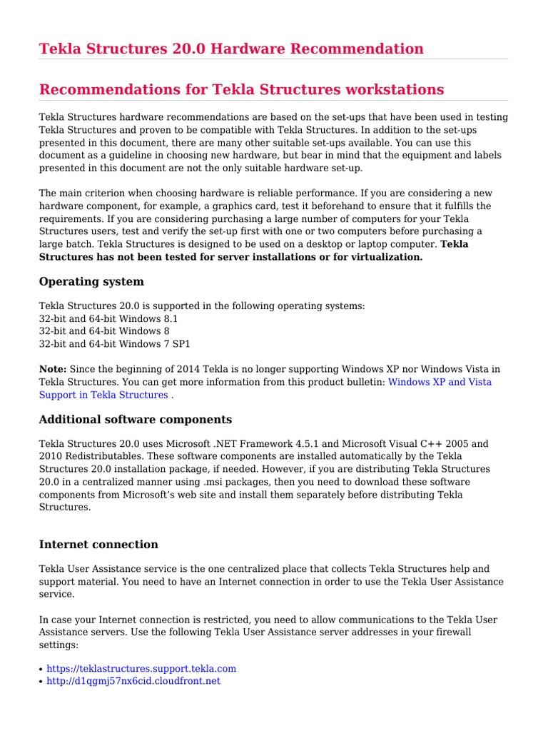 Tekla Structures 20 0 Hardware Recommendation pdf | Microsoft