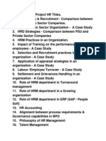 MBA Internship Project HR