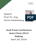 Ulrich Hackenberg - Auto China 2014