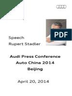 Rupert Stadler - Auto China 2014