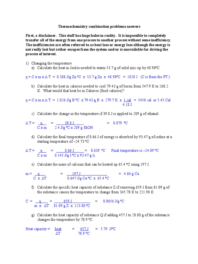 Thermochemistry Combination Problems Answers | Mole (Unit ...