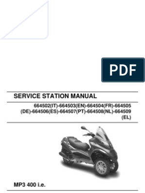 Piaggio MP3 400 Workshop Manual | Screw | Piston
