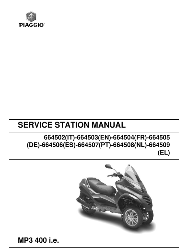 piaggio mp3 400 workshop manual motor oil transmission mechanics rh scribd com piaggio mp3 service manual piaggio mp3 500 owner's manual download