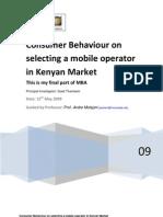 Consumer Behaviour Mobile Operator Kenya