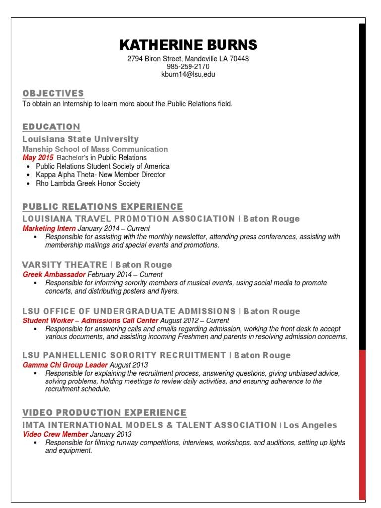 lsu sorority resume template