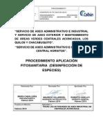 Procedimiento Desinfección de Especies