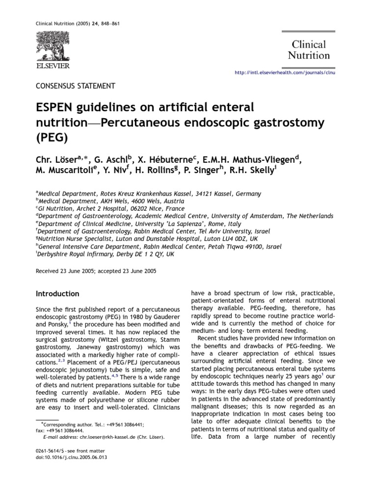 Printable Endoscopy: PEG ESPEN Guidelines