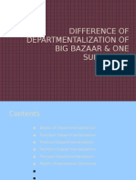 Difference of Departmentalization of Big Bazaar & One Supermart
