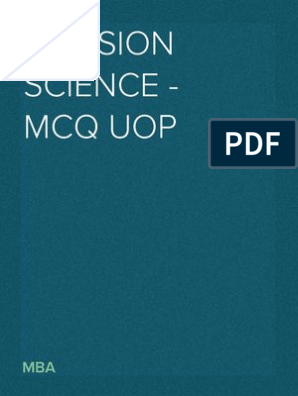 Decision Science - MCQ UOP | Computer Simulation | Operations Research