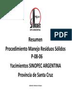 Resumen Procedimeinto Gestion de Residuos - Santa Cruz