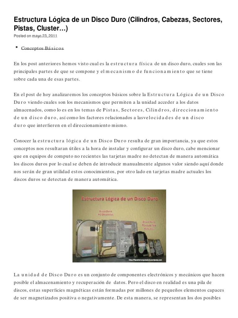 Estructura Lógica De Un Disco Duro Cilindros Cabezas
