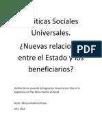 Politicas Sociales Universales ¿Nuevas Relaciones Entre El Estado y Los Beneficiarios