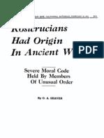 AMORC - Rosicrucians Had Origin in Ancient World (1928)