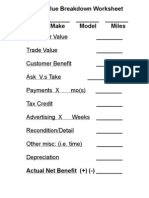 Trade Value Breakdown Worksheet