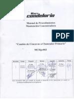 MCHpr003 Cambio de Cóncavas a Chancado Primario