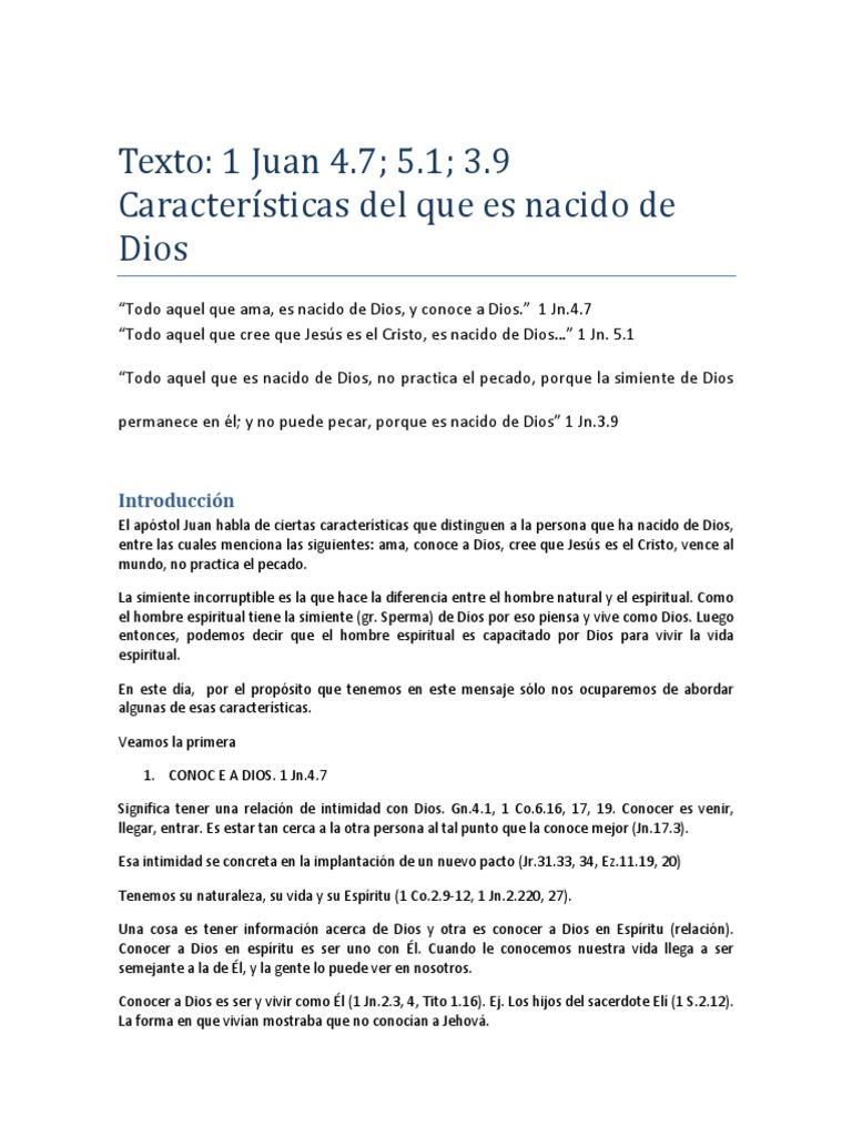 Caracteristicas Del Nacido de Dios 1 Jn.3 4 y 5