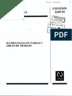 Norma COVENIN 2249-93 Iluminancia en Tareas y Área de Trabajo
