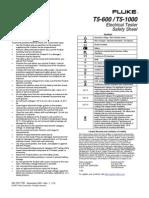 Fluke T5-600 / T5-1000 Electrical Tester Saftey Sheet