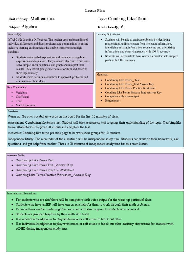lesson plan 2 like terms | Lesson Plan | Educational Assessment