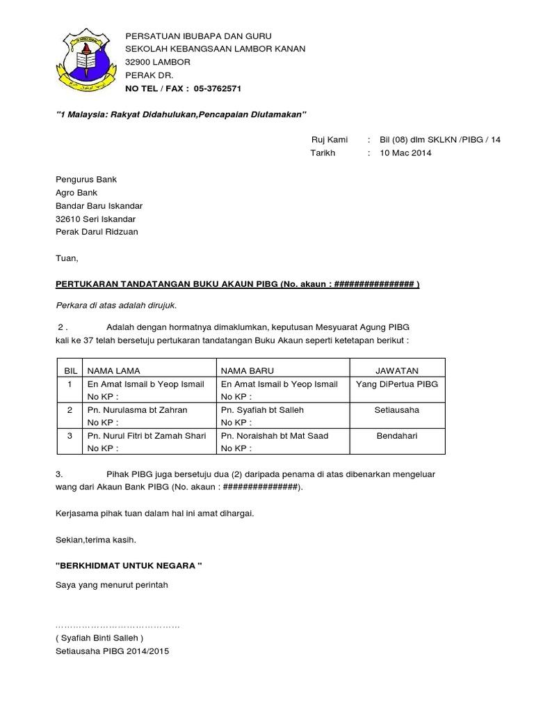 Surat Tukar Penama Akaun Bank Pibg Docx