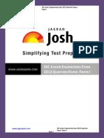 SSC SSC Junior Engineering Exam 2013 Question Paper Paper I