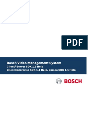 Bosch VMS SDKs Technical Service Note All 9410373771