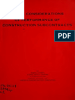 Legal Consideratin of Performance of Subcontracts