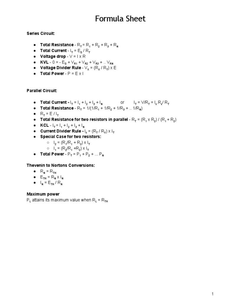 Formulasheet Electrical Total Resistance In A Series Circuit