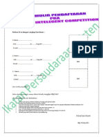 Formulir Pendaftaran Pra Medical Inteligent Competition