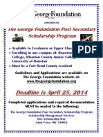 2014 Flyer Post Secondary Scholarship