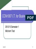 CCN1007 Mid-Term Test Common Information 2012_13 Sem1