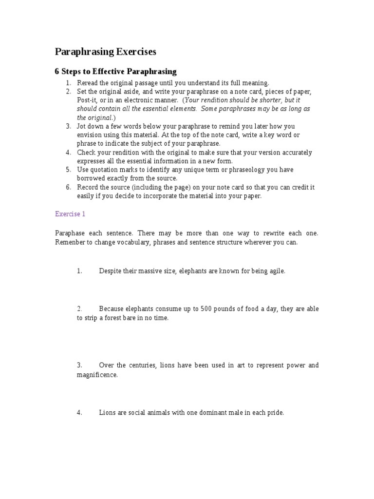 paraphrasing exercises with answers – Paraphrasing Practice Worksheet