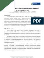Relatório Acidente SERVATIS - DERRAMAMENTO DE 8 mil litros de AGROTÓXICO NO RIO PARAÍBA DO SUL-RJ
