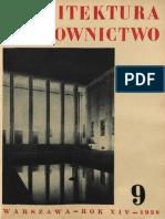 Architektura i Budownictwo, nr 9 1938