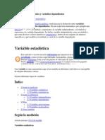 Variables Independientes y Variables Dependientes