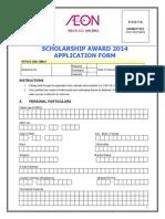 Application Form AEON Malaysia Scholarship Awards 2014