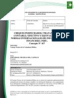 Doc. 580 CHEQUES POSFECHADOS TRATAMIENTO CONTABLE EFECTIVO Y EQUIVALENTES NORMAS INTERNACIONALES DE INFORMACIÓN FINANCIERA (NIIF)..pdf