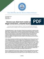 Herrera Suit Against Short-Term Rentals