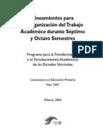 Lineamientos Para La Organizacion Del Trabajo Academico Durante 7 y 8 Sem