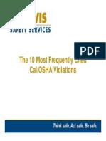 Cal OSHA Top Ten Violations