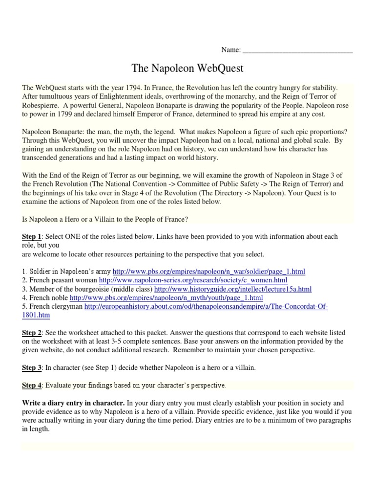 Webquest for napoleon napoleon reign of terror robcynllc Image collections