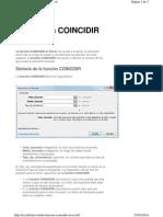 Función COINCIDIR en Excel