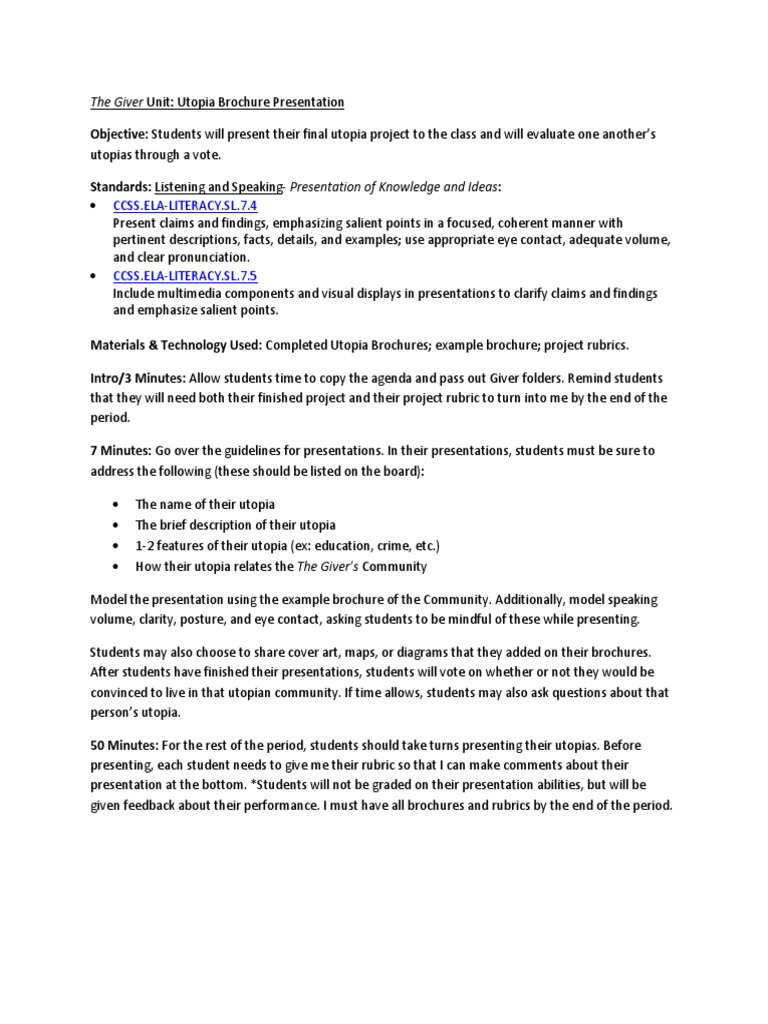 Utopia essay rubric interesting history topics for research paper