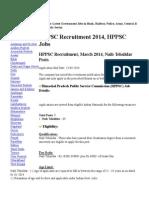 HPPSC Recruitment 2014 Www.hp.Gov