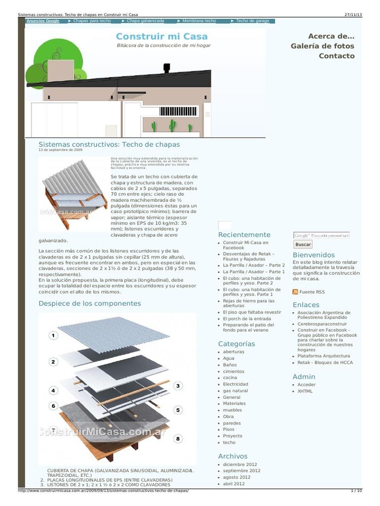 Sistemas constructivos techo de chapas en construir mi casa for Modelos de techos de chapa para mi casa