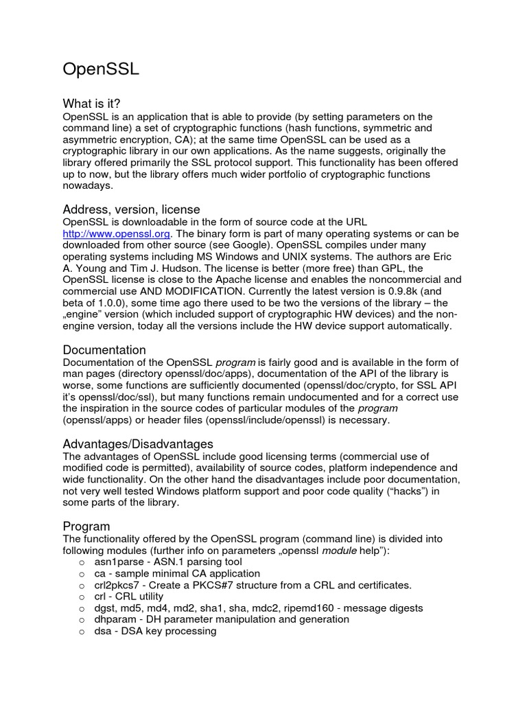 Openssl en v4   Library (Computing)   Transport Layer Security
