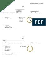Daily Math Review Sheets- Grade 2