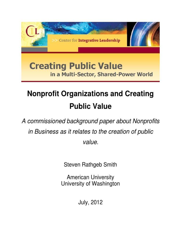 Smith7 20 12 Value Of Npo Nonprofit Organization Public Good
